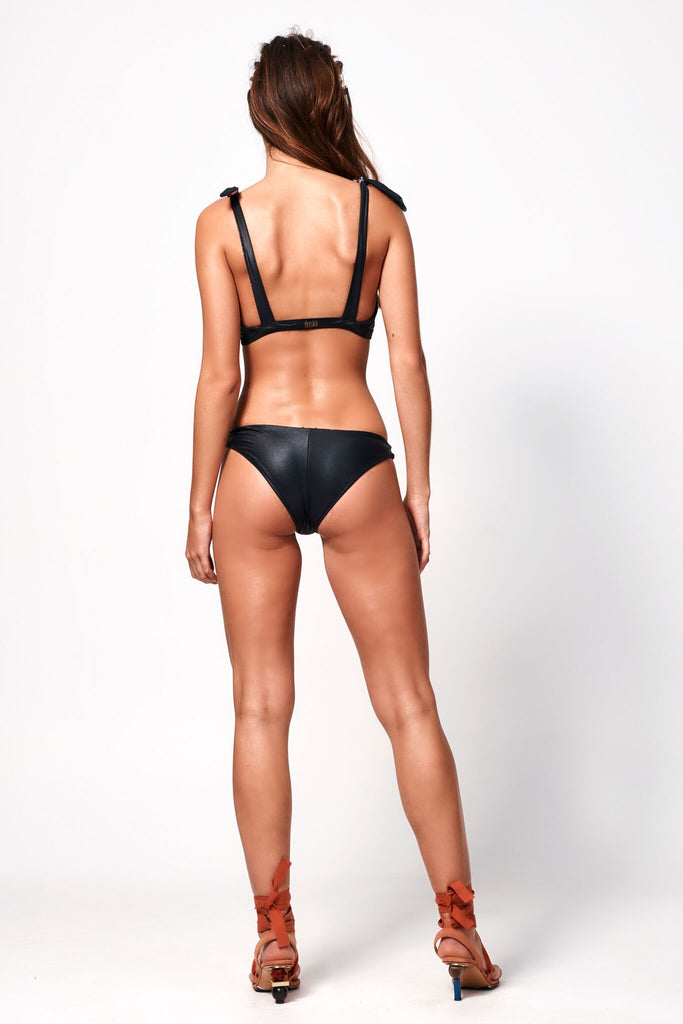 Fleur Deep V Bottom | Black & Floral