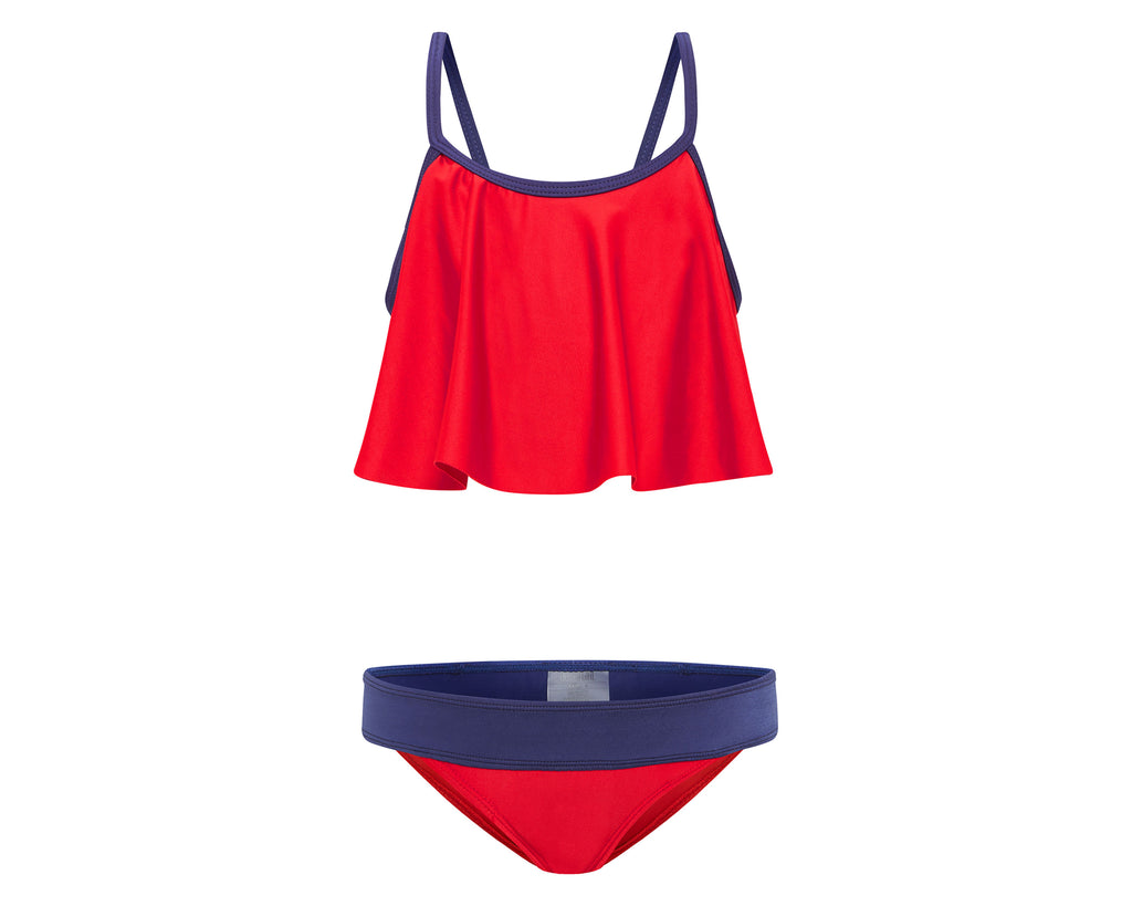 duskii Girl Poppy Frill Crop Set | Red/Navy
