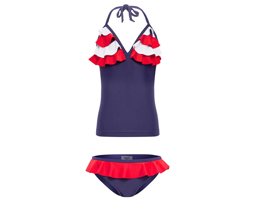 duskii Girl Poppy Mermaid Tankini | Red/Navy/White