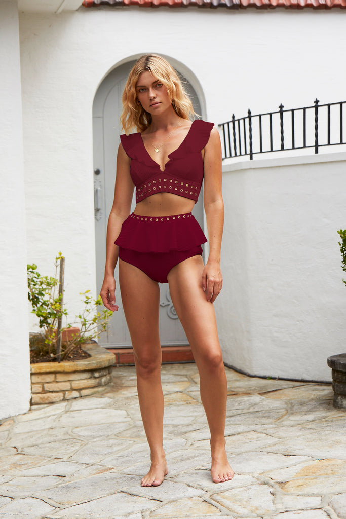 Venice Frill High Waisted Bikini Bottom | Raspberry