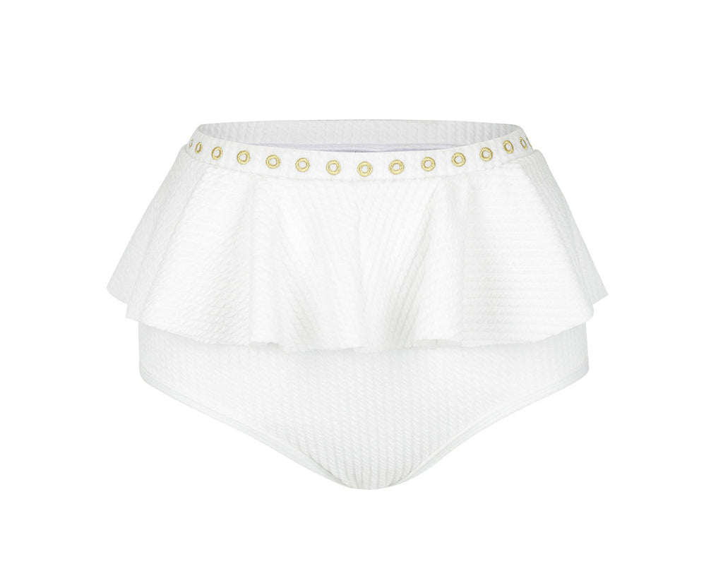 Venice Frill High Waisted Bikini Bottom | Vanilla
