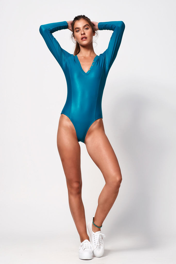 Océane Sleek Long Sleeve One Piece | Teal