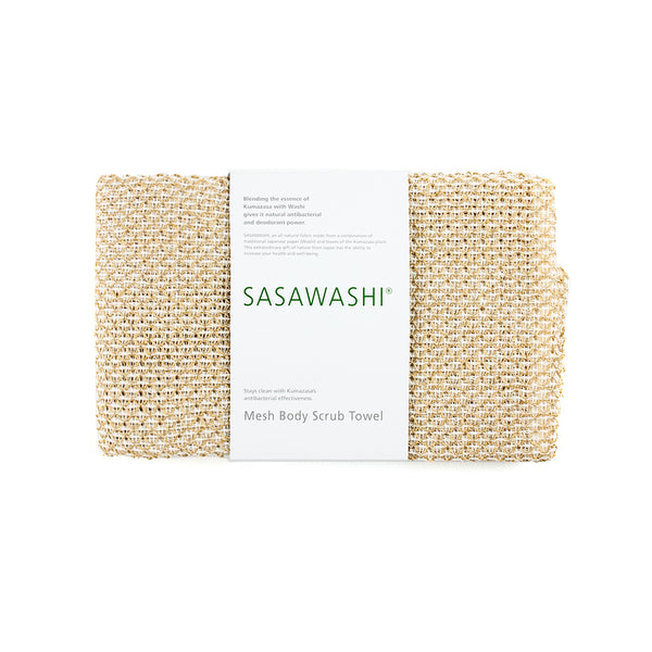 Sasawashi Mesh Body Scrub Towel,Japanese Bath Accessories, Amayori, Packaging