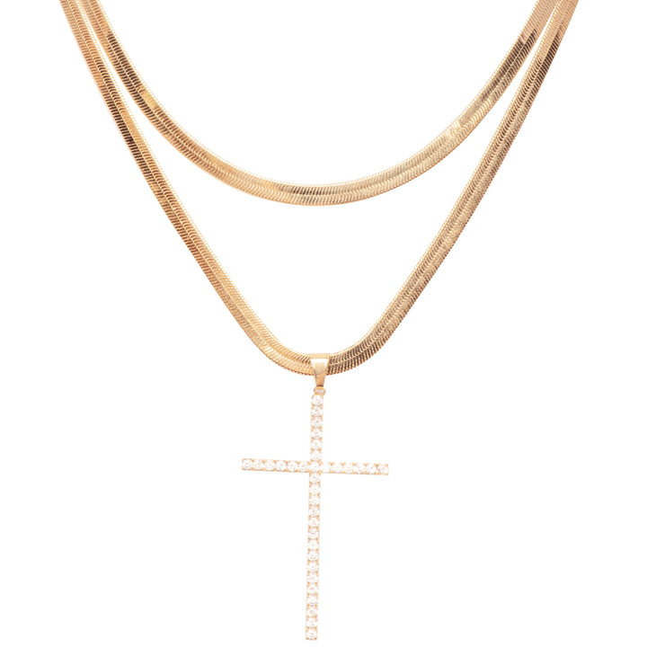 Snow Cross Snake Necklace