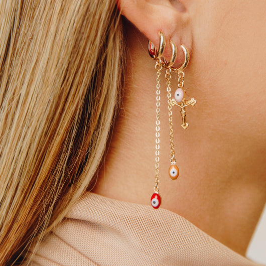 Long Evil Eye Drop Earring