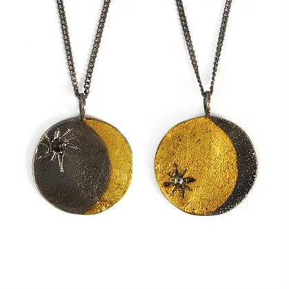 Double Sided Lunar Coin Necklace - Outlette Jewelry