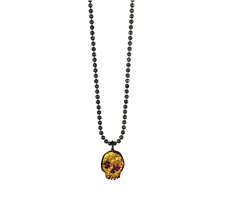 Tiny Ruby Skull Necklace - Outlette Jewelry