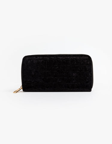Black Suede Croc Wallet
