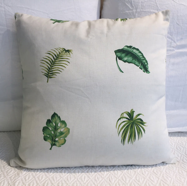 Green Palm Leaf with White Background Cushion