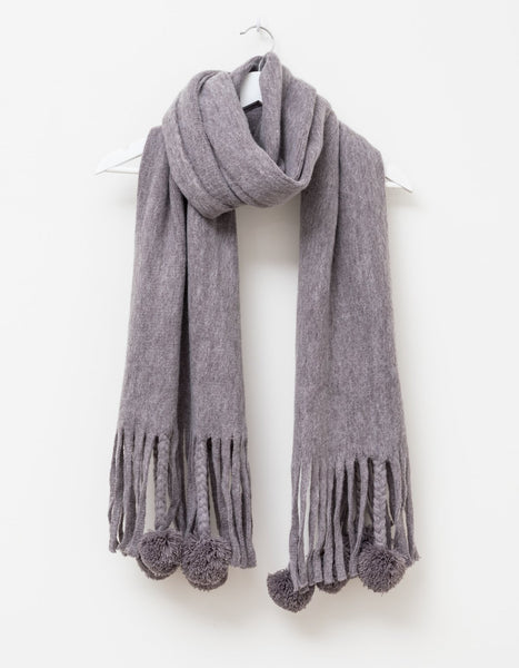 Light Grey Fringe/Pompom Scarf