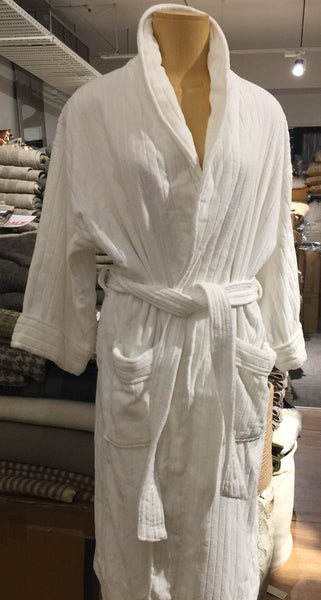 White Ribbed Cotton Bathrobe