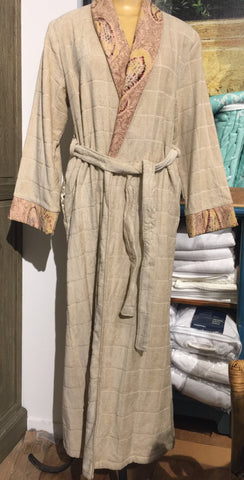 Pattern edged Cotton Bathrobe