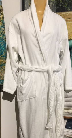 Plain White Cotton Bathrobe