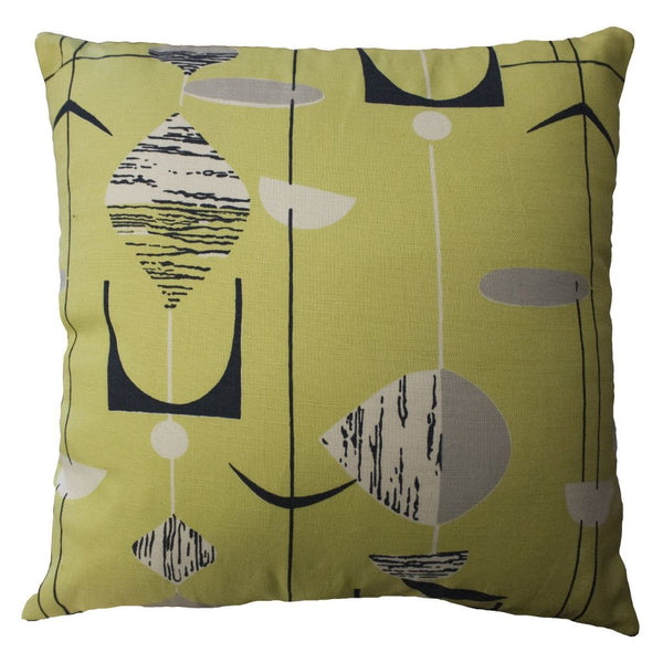 Green retro print cushion