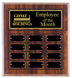 Employee of the Month Plaque | Cherry Finish Board | Holds 12 Plates