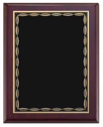 Rosewood Piano Finish Plaque - Modern Border - Black and Gold Plate