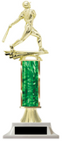 Baseball Trophy with Green Column & White Base