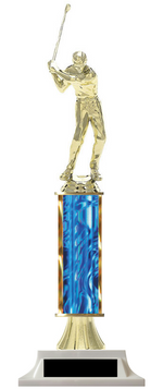 Golf Column Trophy Male Figure with Club Build-Your-Own