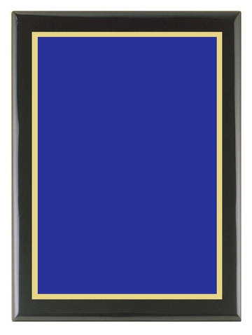 Piano Finish Plaque (Black) with Blue Brass Plate & Gold Border