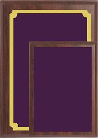 Value Wall Plaques Purple Brass Plates Cherry Finish Board