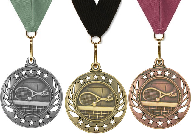 Tennis Medals Gold, Silver & Bronze Galaxy Edition