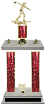 Female Bowling Double Column Tournament Trophy 8 Colors