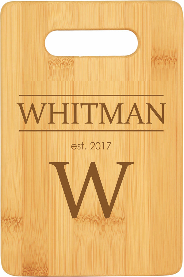 Personalized Bamboo Cutting Board Last Name Feature