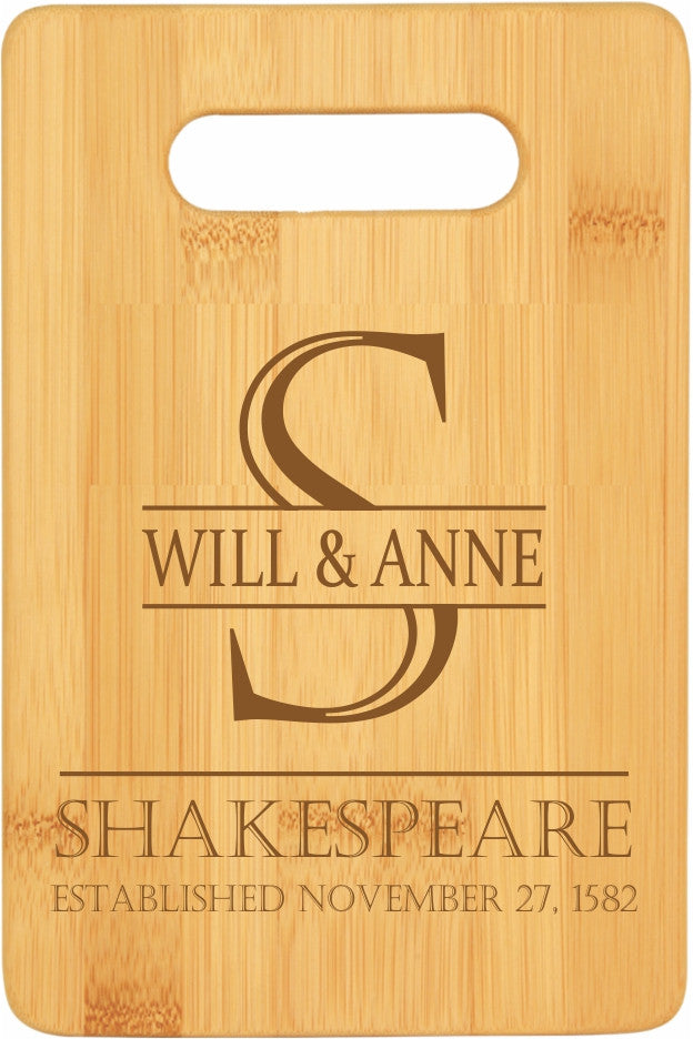 Bamboo Cutting Board Couple's First and Last Name Personalize Yours!
