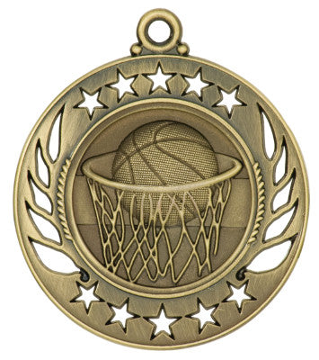 "Basketball Medal - Girls Edition - Galaxy 2 1/4"" - Gold, Silver, and Bronze"