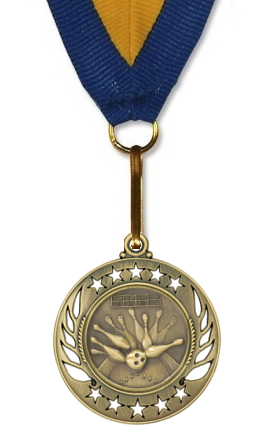 Bowling Medal Galaxy Stars - Large - Gold, Silver, and Bronze