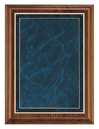 Solid American Walnut Plaque with Blue Marble & Gold Plate