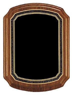 American Walnut Plaque with Charcoal & Gold Border
