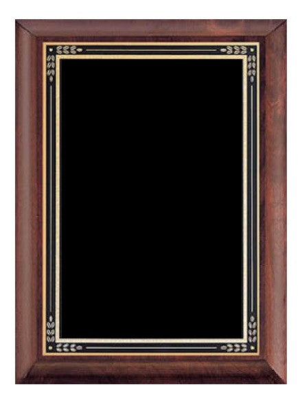 Cherry Finish Wood Plaque - Black & Gold Plate