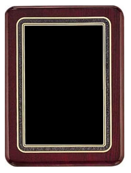 Rosewood Piano Finish Plaque with Gold, Black & Gray Plate