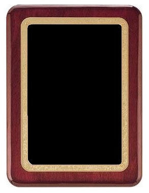 Rosewood Piano Finished Plaque - Black & Gold Plate