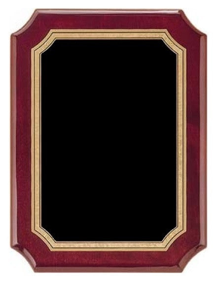 Rosewood Piano Plaque - Black & Gold Notched Border