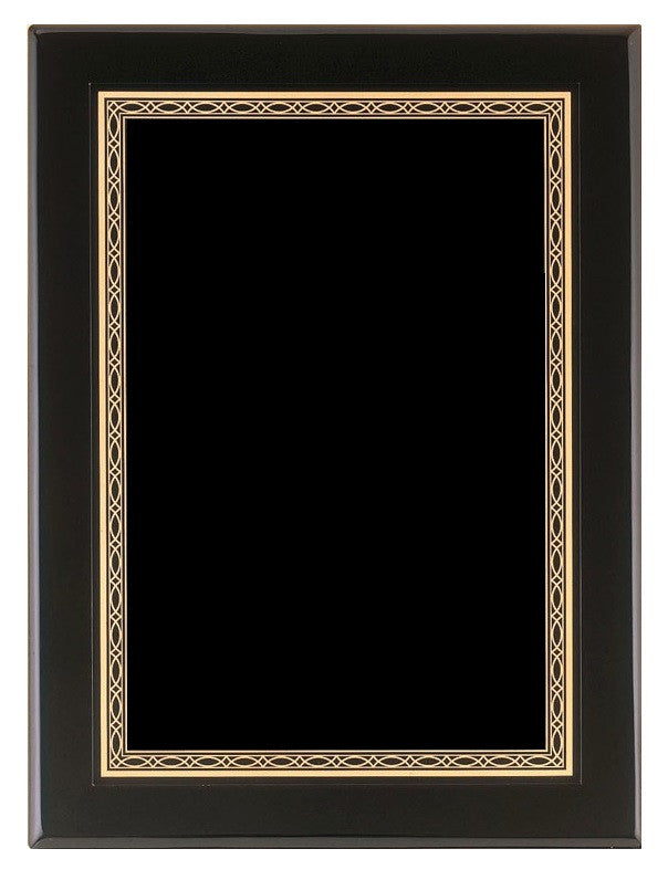 Black Piano Finish Plaque with Unique Gold Border Design