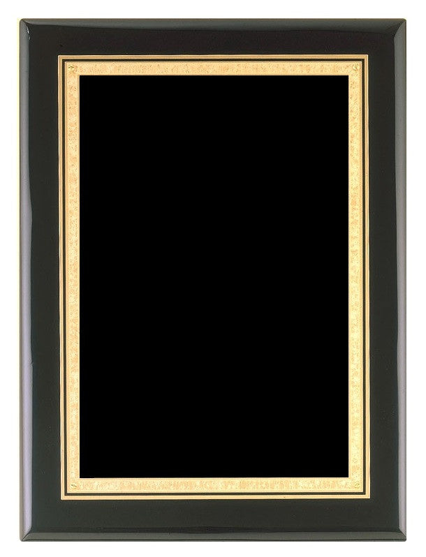 Black Piano Finish Plaque with Gold Border Plate