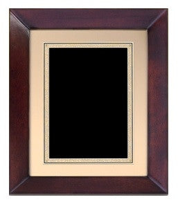 "Large Cherry Finish Framed Plaque - Black & Gold Plate 12"" x 15"""