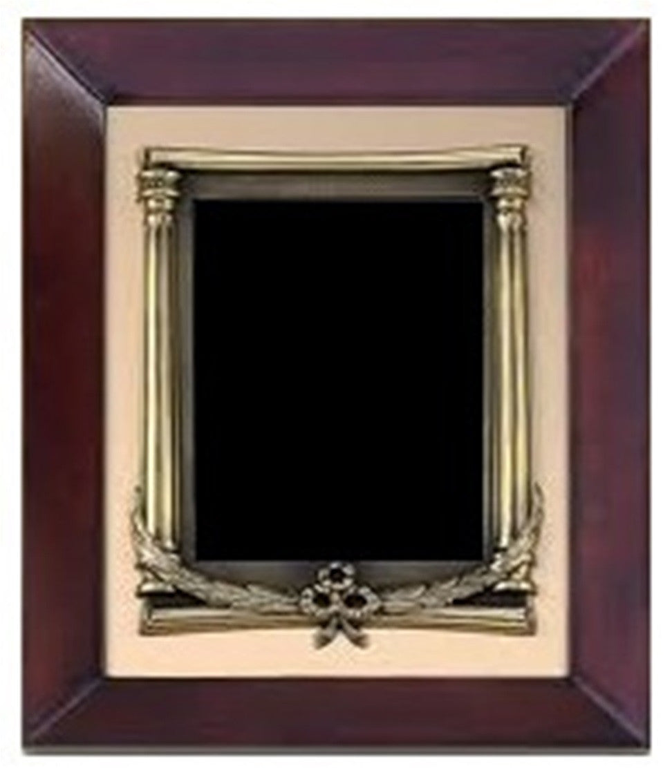 Cherry Finish Frame - Antique Bronze Finished Metal Plate Frame