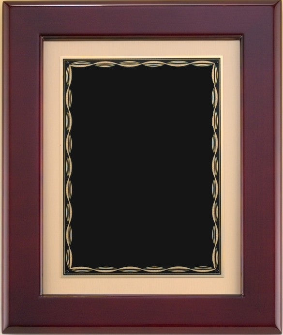 Rosewood Piano Frame - Modern Border - Black and Gold Plate