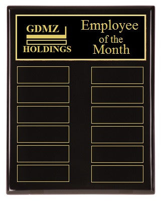 Employee of the Month Plaque | Black Piano Finish Board | Holds 12 Plates