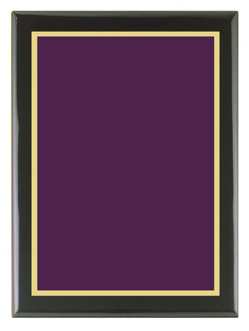 Piano Finish Plaque (Black) with Purple Brass Plate & Gold Border