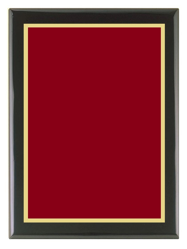 Piano Finish Plaque (Black) with Cherry Red Brass Plate & Gold Border
