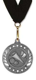Cheerleading Medal - Galaxy Cheer Star Large Medal in Gold, Silver, & Bronze