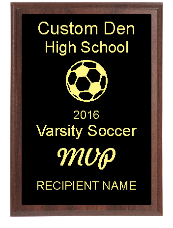 High School Soccer Plaque MVP Award