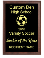Rookie of the Year High School Soccer Plaque