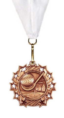 "Golf Medal 2 1/4"" Rising Stars in Gold, Silver, & Bronze"