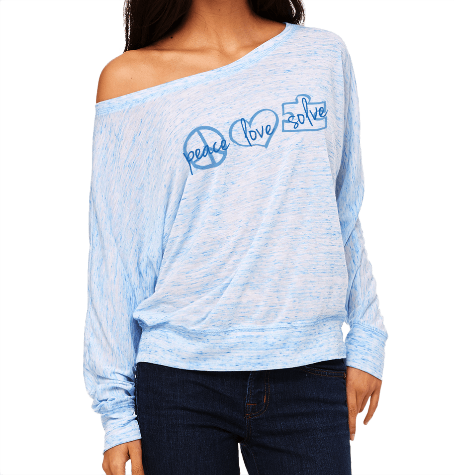 Raina Blue Long Sleeve Flowy Off the Shoulder