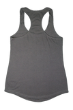 "Back Terry Racerback Tank Dark Gray Peace Love Solve ""raising awareness. Inspiring acceptance"""